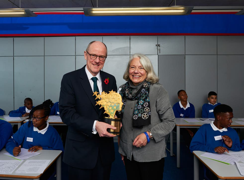 Nick Gibb, Education Minister and Nancie Atwell, winner of 'the Global Teacher Prize'