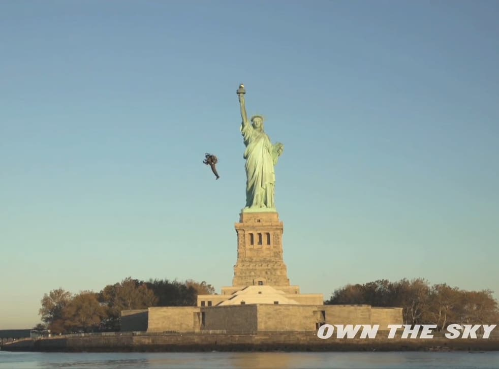'World's first personal jetpack' flies around the Statue of Liberty