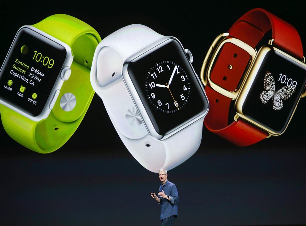 Tim Cook unveils the Apple Watch in September 2014