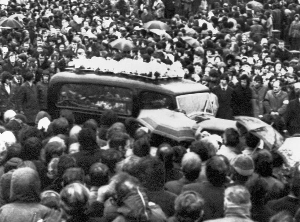 Mourners attending the funerals of the 13 Bloody Sunday victims