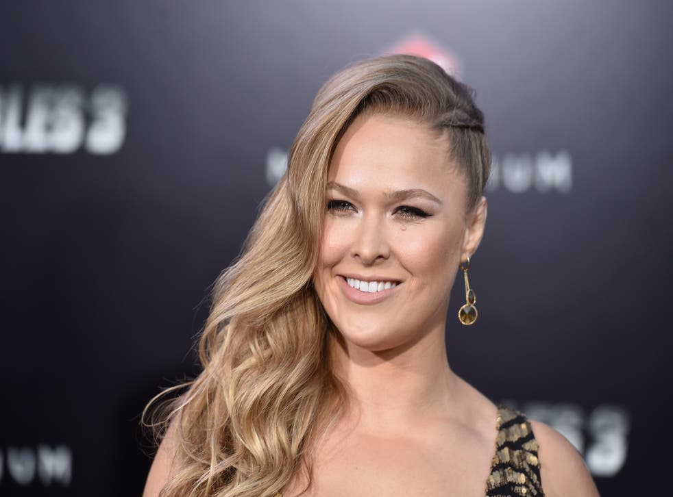 Ronda Rousey attends the premiere for ' 'The Expendables 3' in Los Angeles.