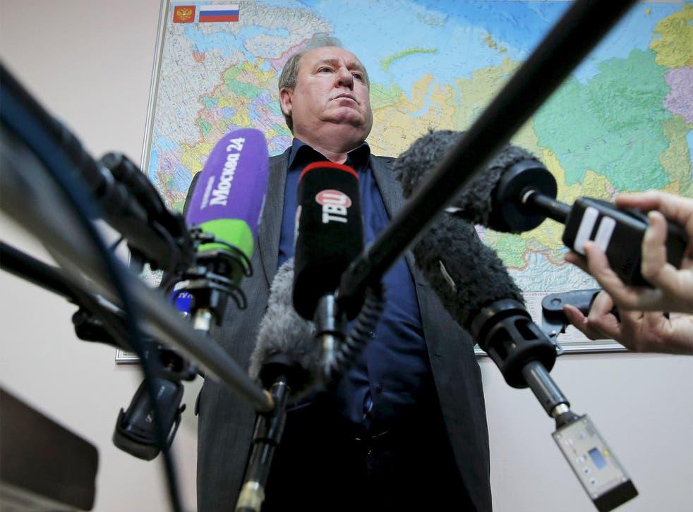 Acting president of the ARAF, Vadim Zelichenok, speaks to media in Moscow