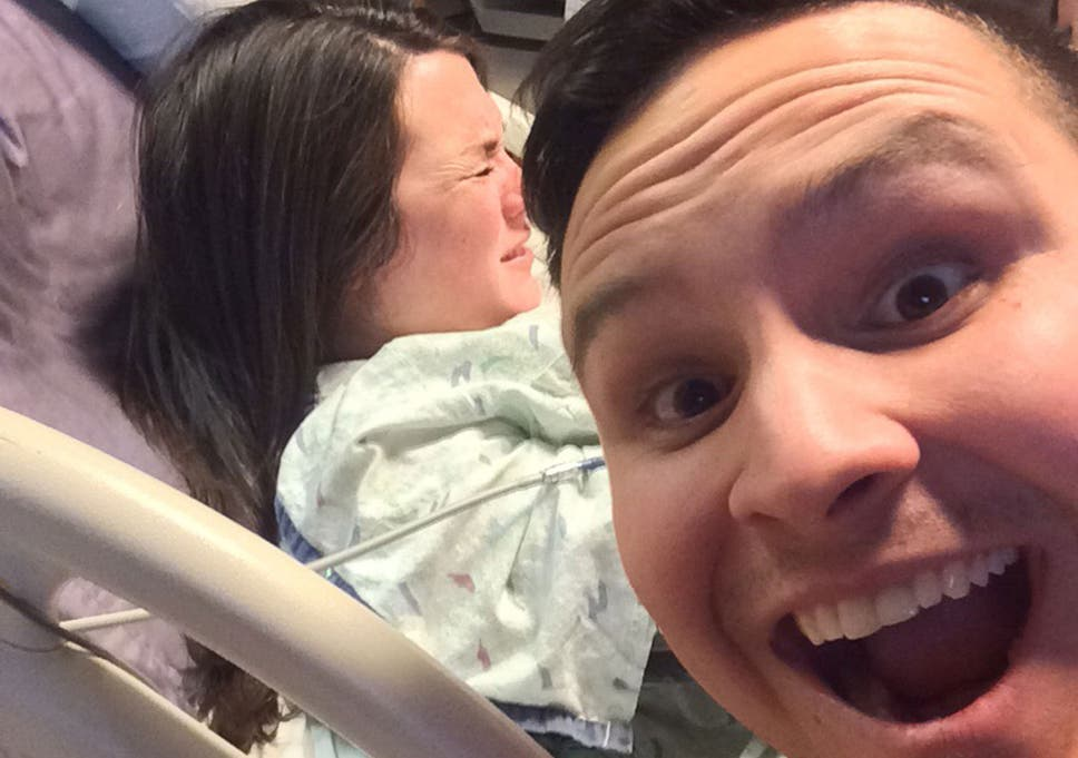Reddit user takes selfie while his wife gives birth in the