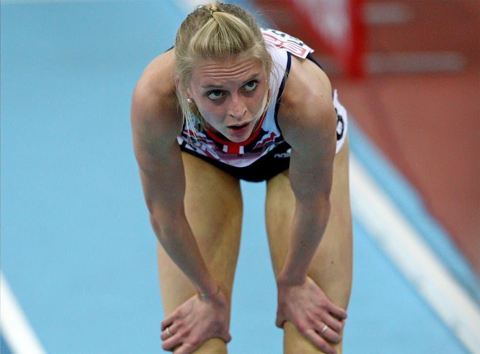 Hannah England shows her despair after being knocked out in the heats at the 2009 European Indoor Championships