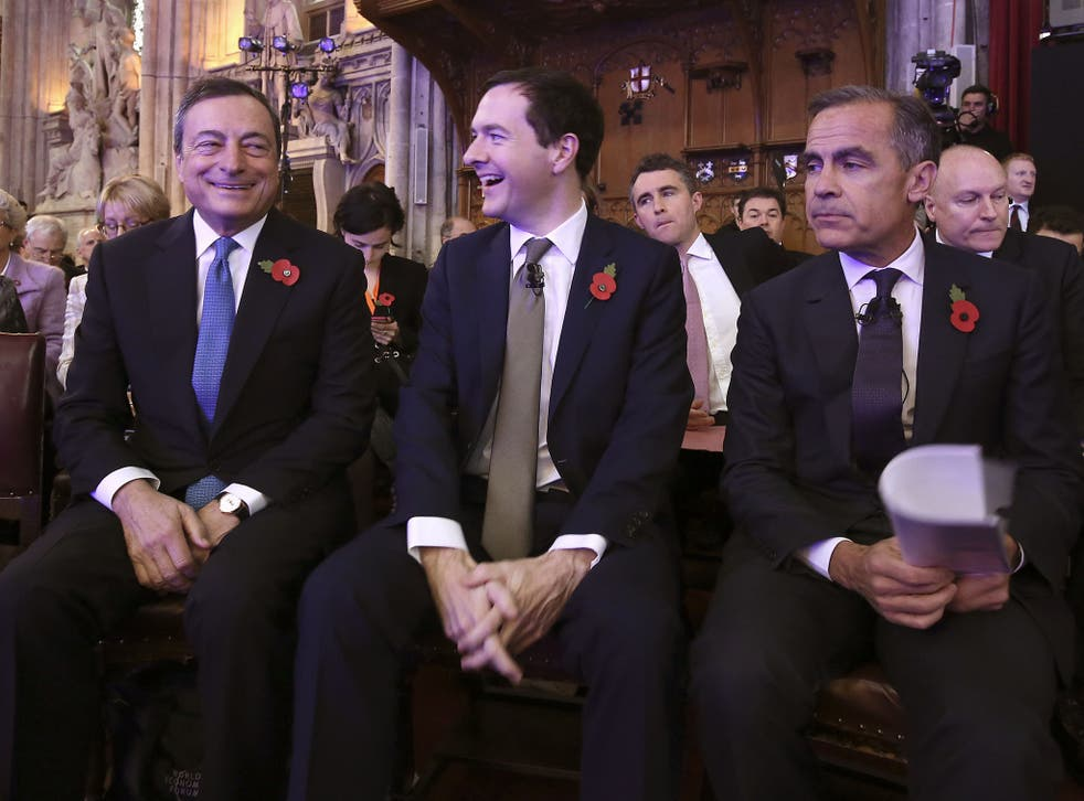 President of the European Central bank Mario Draghi, Chancellor George Osborne and the Bank of England governor Mark Carney at the Bank of England Open Forum 2015 at Guildhall in London.