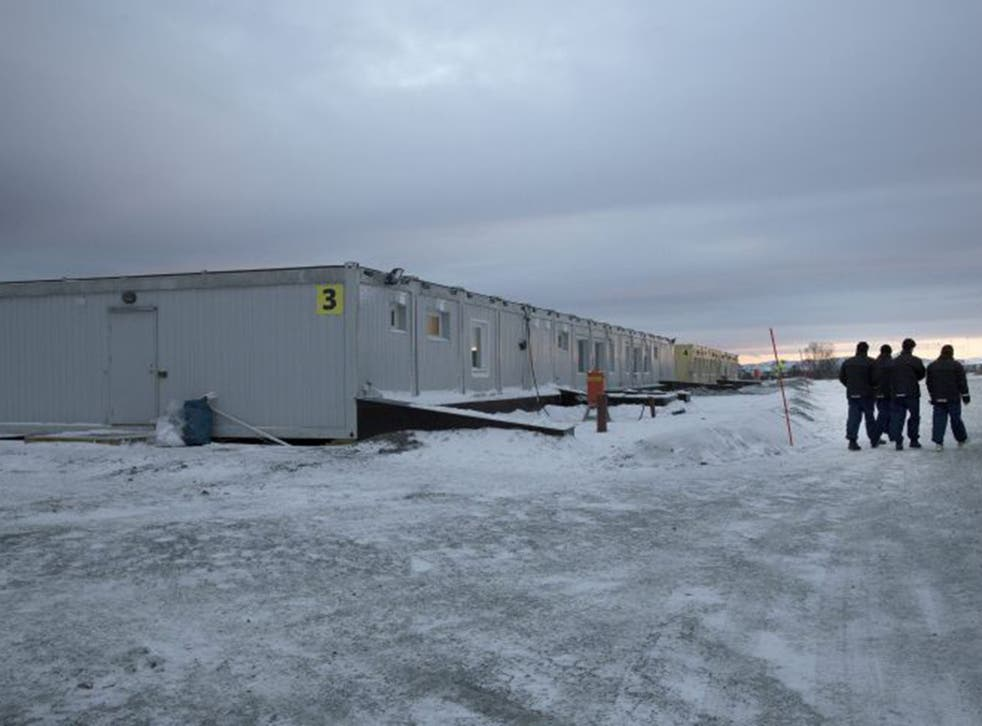 The new centre for refugees and migrants pictured in Kirkenes, Norway, near the border with Russia