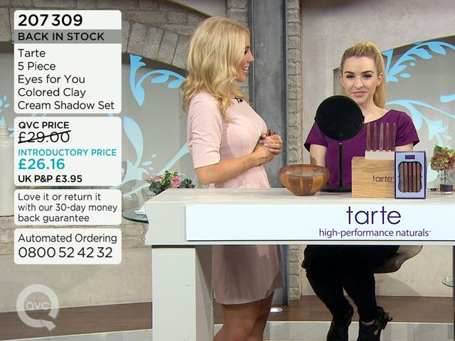 QVC monitors transmit the live broadcast as well as sales data, showing how much of the product remains to be sold