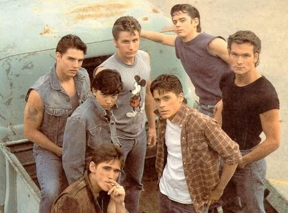 Tom Cruise, Emilio Estevez, C. Thomas Howell, Patrick Swayze, Rob Lowe, Matt Dillon, and Ralph Macchio in Francis Ford Coppola's film of the book