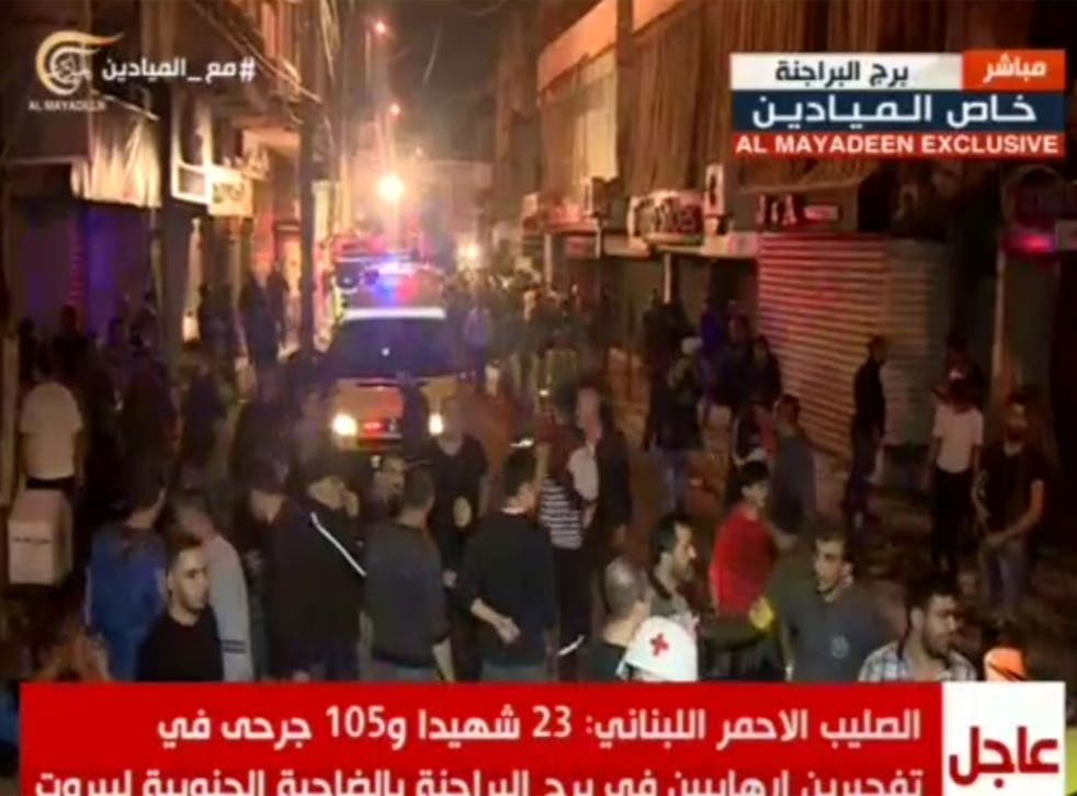 Stills from nearby the epicentre of the explosions