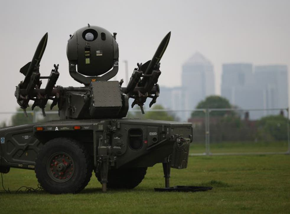 An Army Rapier missile defence battery deployed at Blackheath in May 2012 as part of Operation Exercise Olympic Guardian, organised to test security for the London Games