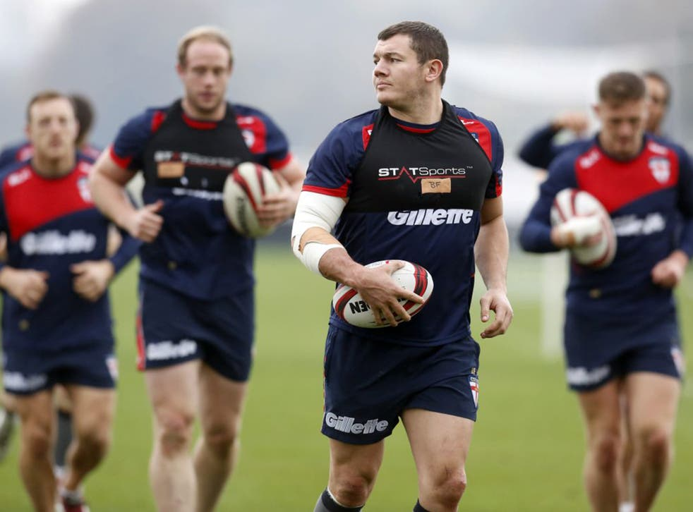 Brett Ferres takes part in an England training session at St George's Park this week