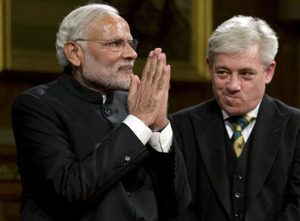 Narendra Modi with John Bercow, the Speaker of the House of Commons, after addressing the Royal Gallery of the Houses of Parliament