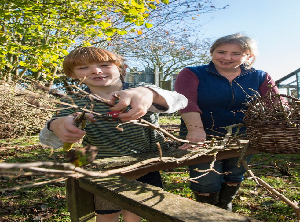 Rebecca Mitchell supervises her son Jamie as he cuts some branches with secateurs