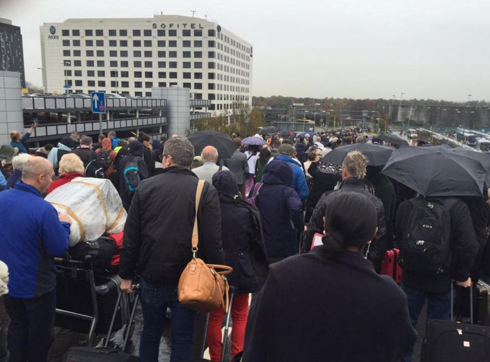 Hundreds of passengers were evacuated from Gatwick Airport's North Terminal on Saturday morning.