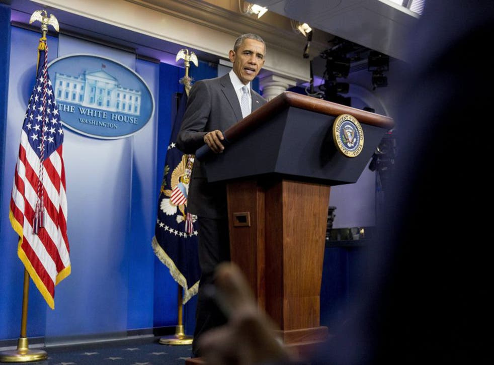 U.S. President Barack Obama makes a statement about multiple acts of violence in Paris in the Brady Press Briefing Room of the White House