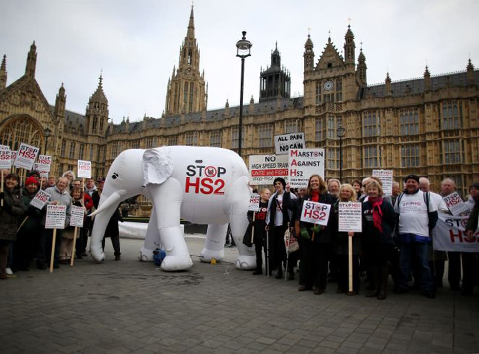 Protesters demonstrating against the High Speed 2 (HS2) rail line father near Parliament