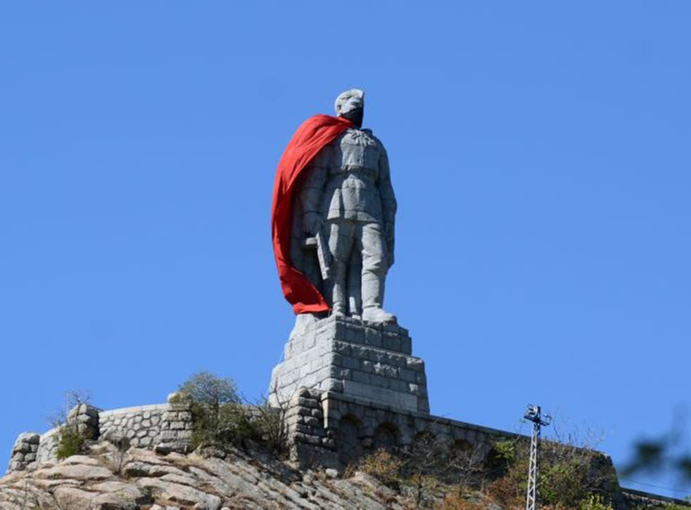 A 10.5-meter high monument of a Soviet soldier draped with a red cloak in the Bulgarian city of Plovdiv