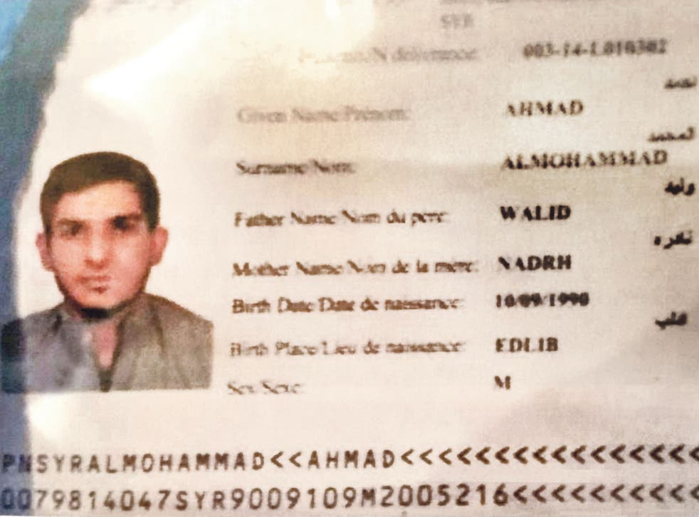 A passport belonging to Ahmad Almohammad was found on the body of a suicide bomber