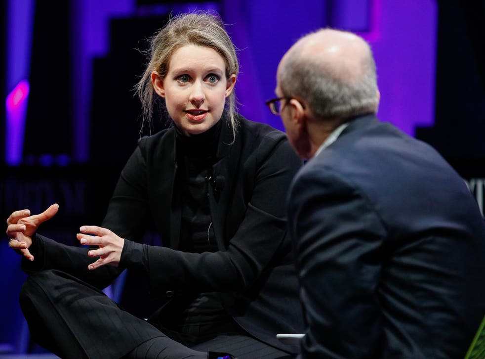 Elizabeth Holmes and Alan Murray speak at the Fortune Global Forum in San Francisco, California
