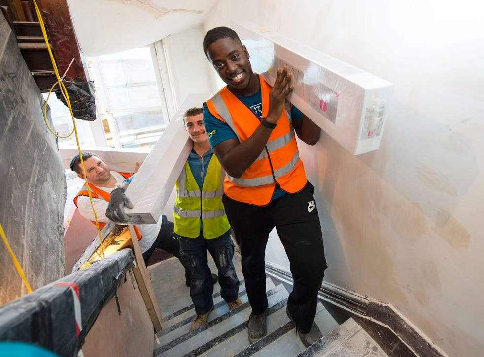 Volunteers help refurbish the Veterans Aid Hostel at Belvedere House in east London, much of it paid for by readers of the 'Independent' newspapers and 'London Evening Standard'