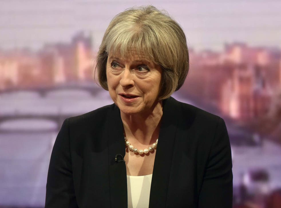 Theresa May speaking on 'The Andrew Marr Show'; she said people should be 'alert but not alarmed'