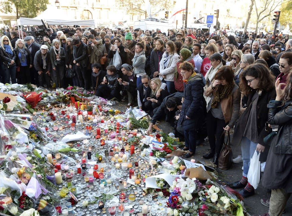 A memorial close to the Bataclan concert hall, where more than 80 people lost their lives