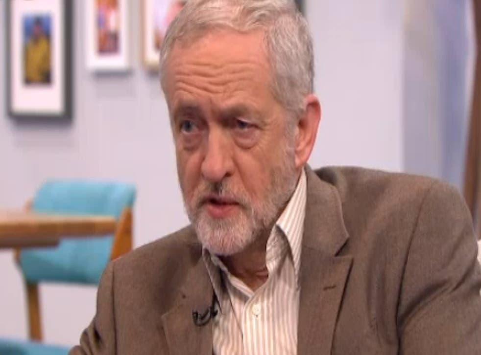 Labour leader Jeremy Corbyn on ITV1's Lorraine programme