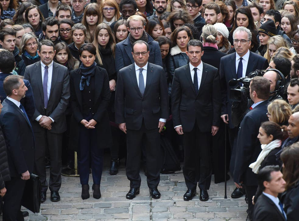(From L) French Minister for Higher Education and Research Thierry Mandon, French Education Minister Najat Vallaud-Belkacem, French President Francois Hollande and French Prime Minister Manuel Valls observe a minute of silence at the Sorbonne University in Paris to pay tribute to victims of the Paris attacks