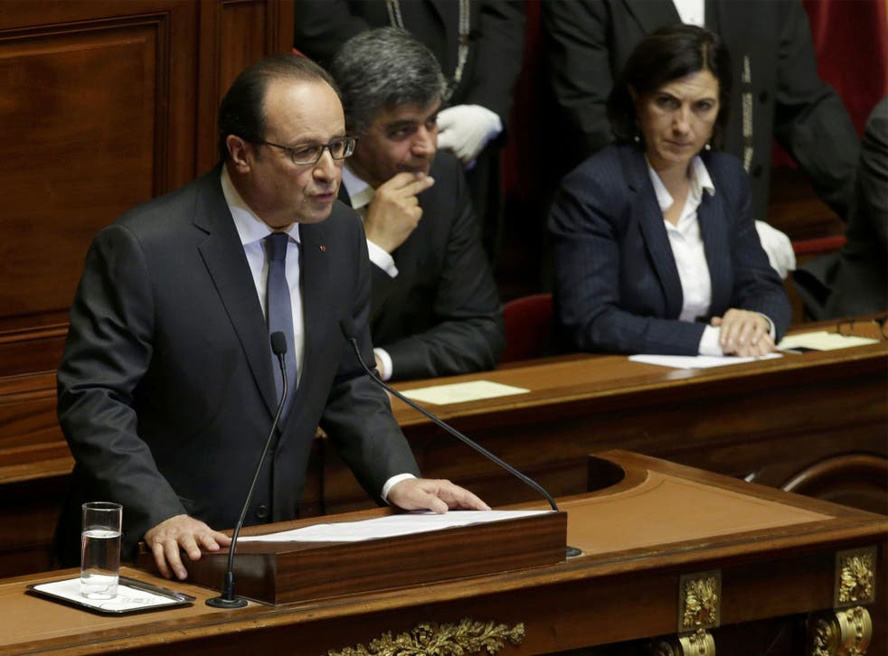Francois Hollande addresses a joint assembly at the Palace of Versailles