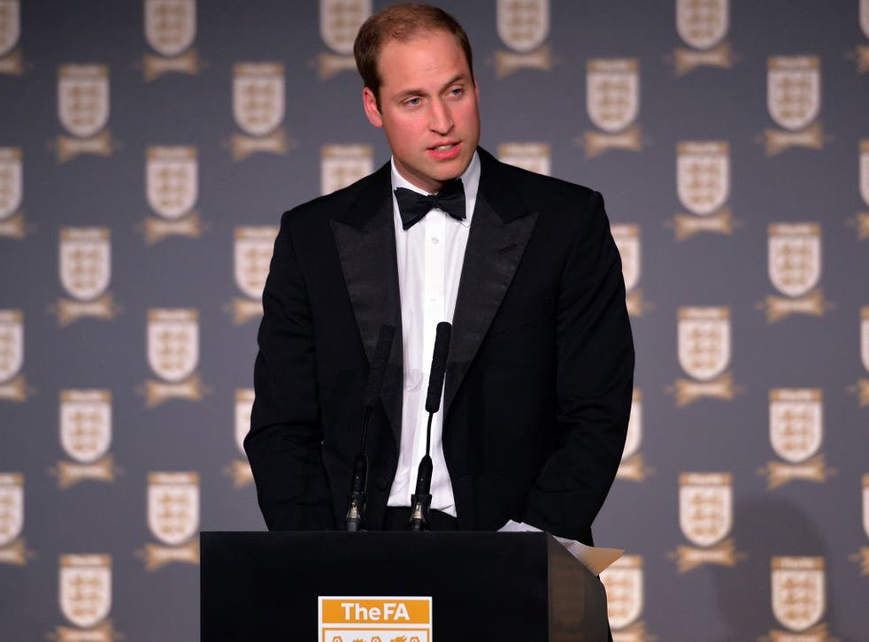 Prince William, Duke of Cambridge gives a speech during The Football Association's 150th Anniversary Gala Dinner at the Grand Connaught Rooms on October 26, 2013