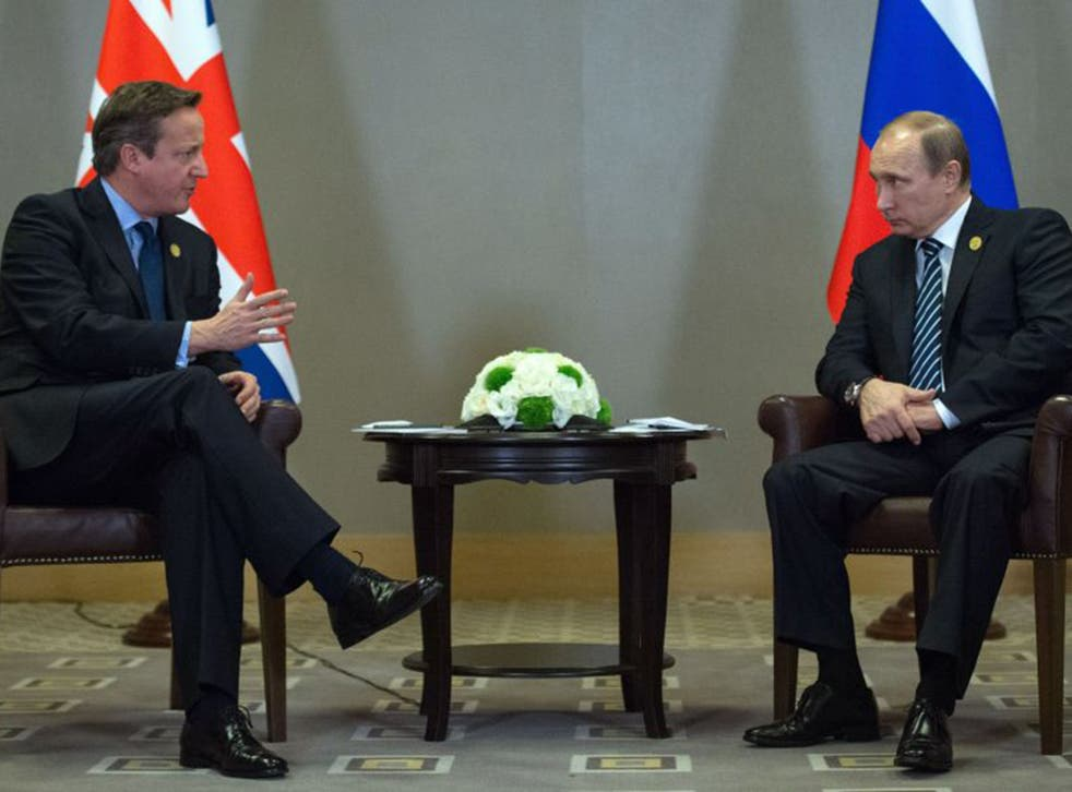 David Cameron with Vladimir Putin at the G20 summit in Turkey on Monday