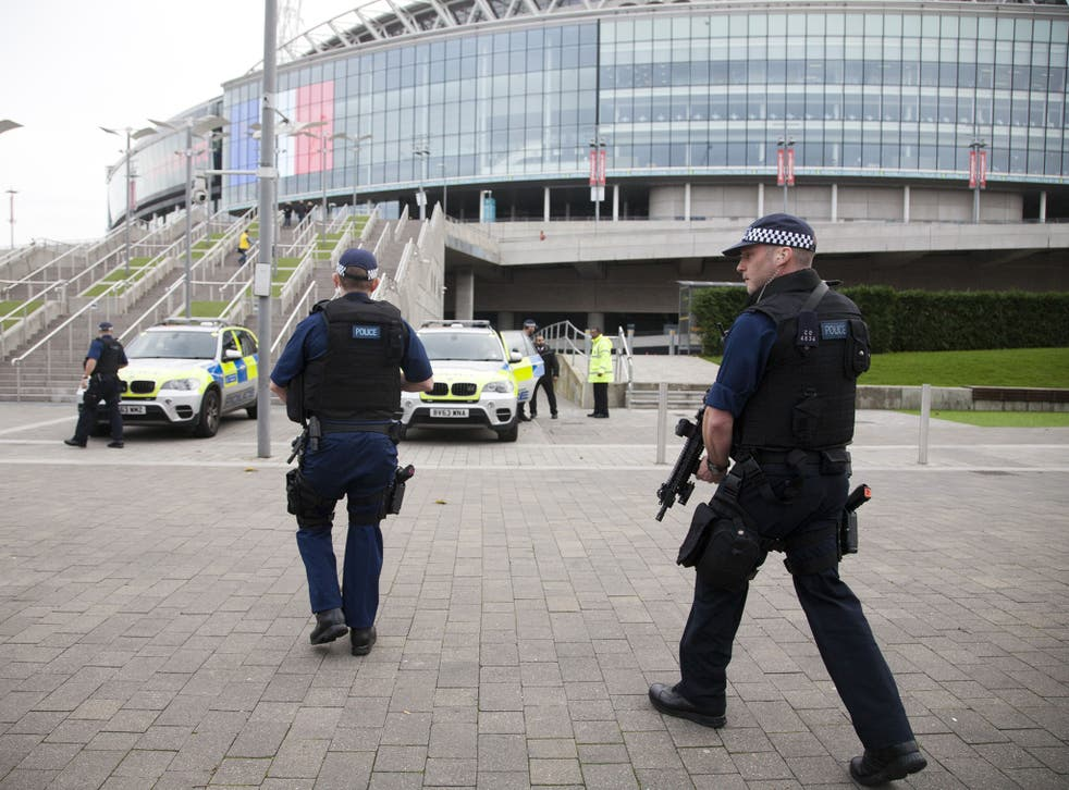 Armed police officers outside Wembley Stadium