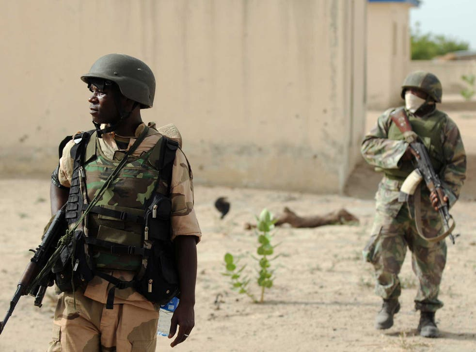 Nigerian army soldiers are pictured as they are deployed to the north of the country