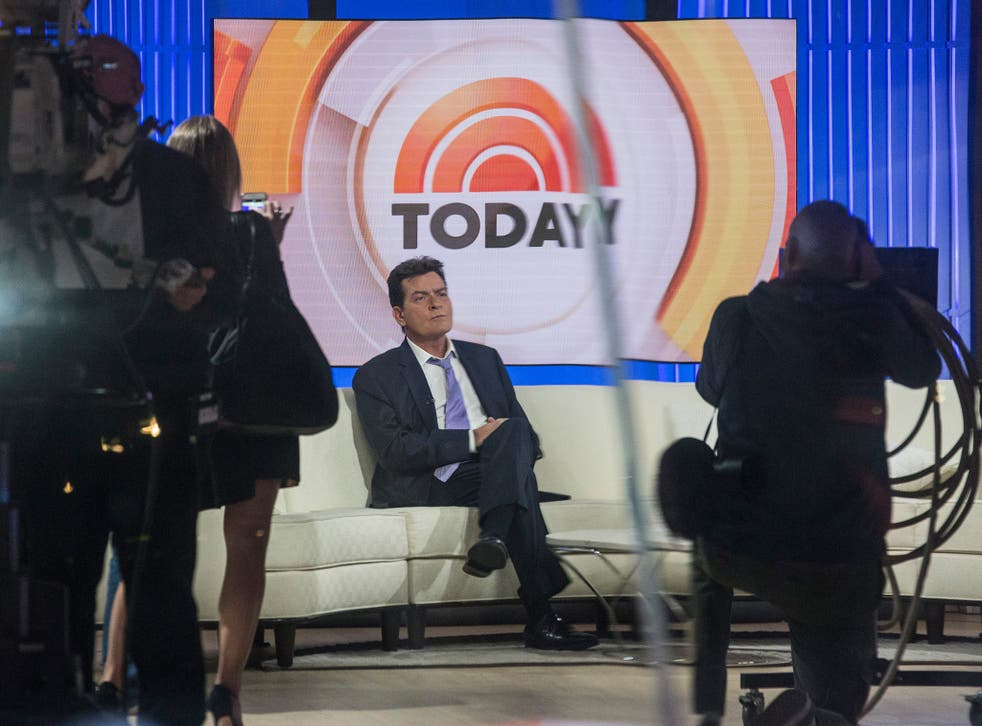 Actor Charlie Sheen waits on the set of the Today Show before formally announcing that he is H.I.V. positive in an interview with Matt Lauer