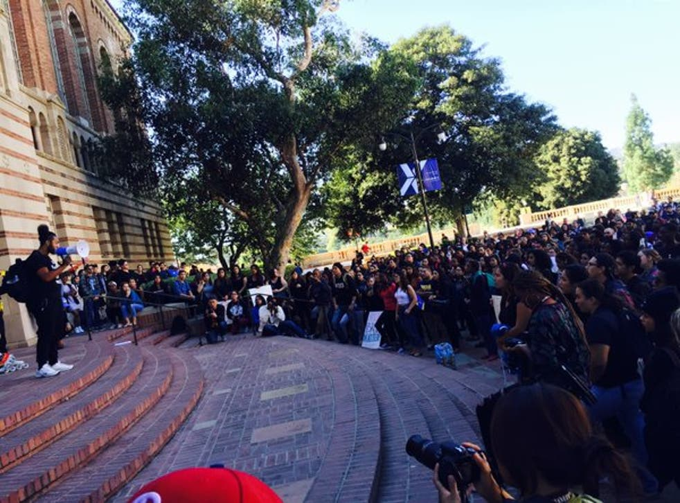 Hundreds of UCLA staff and students left class to support the students of Mizzou