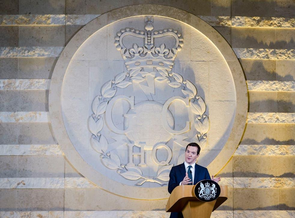 George Osborne speaking at GCHQ in Cheltenham