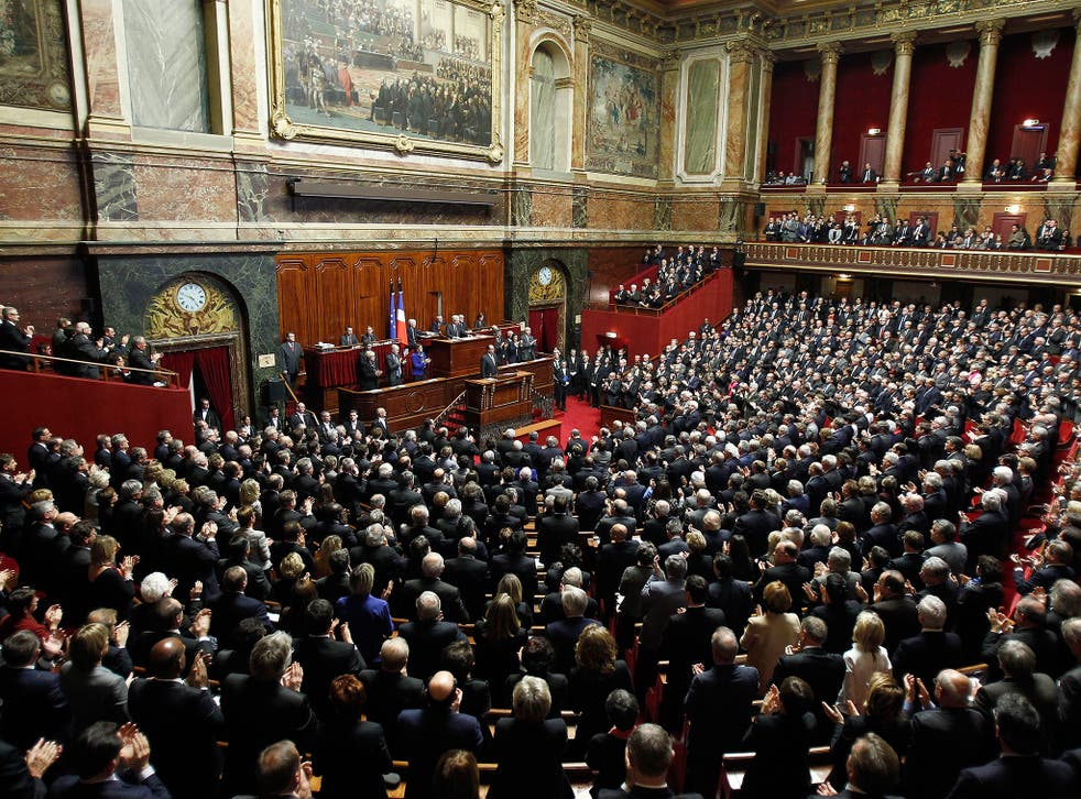 French President Francois Hollande delivers a speech during an exceptional joint gathering of both of the French houses of parliament