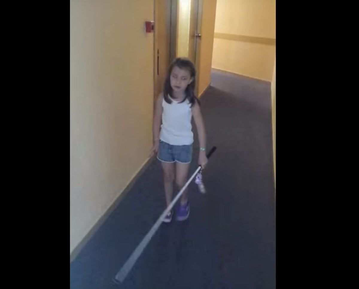 Blind Girl With Cane