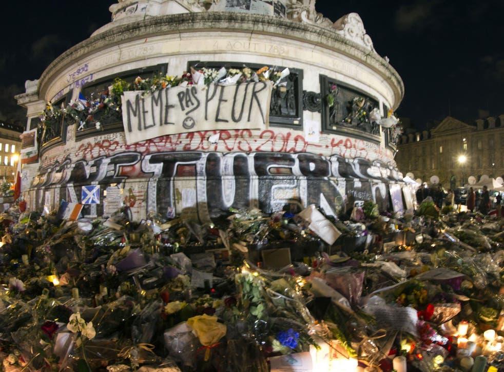 Parisians have laid flowers at the Place de La Republique to pay tribute to the dead