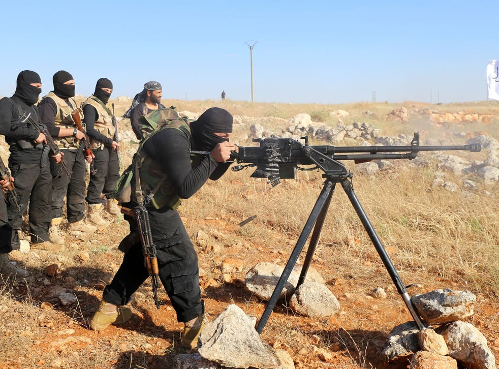 Rebel fighters from the Free Syrian Army taking part in military training near Aleppo, earlier this year