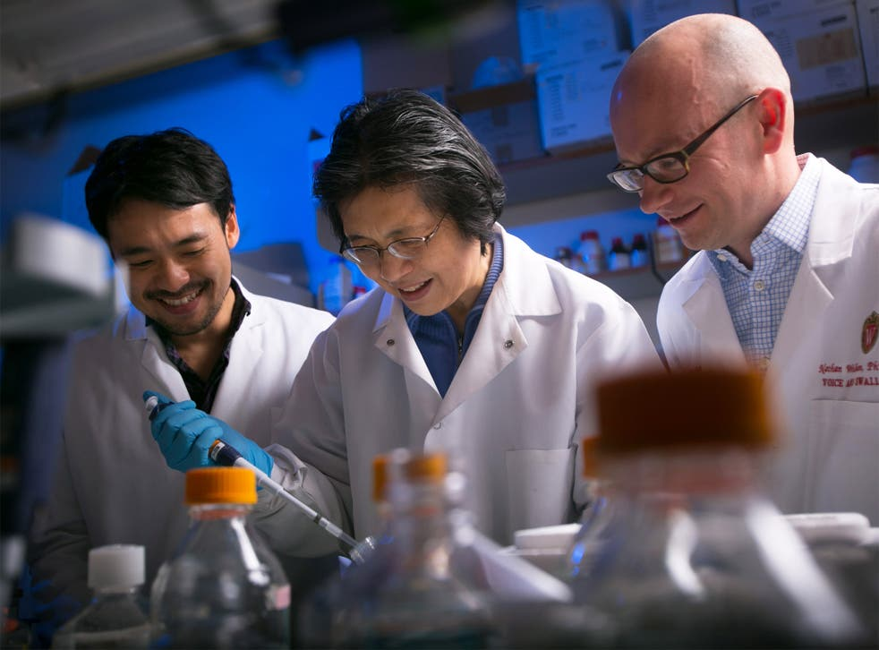 Dr. Nathan Welham, right, and his team in the Welham Lab at the Wisconsin Institute for Medical Research
