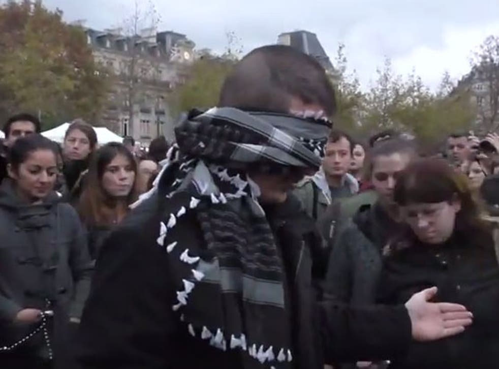 """The blindfolded man said: 'I want to tell you that """"Muslim"""" doesn't necessarily mean """"terrorist""""'"""
