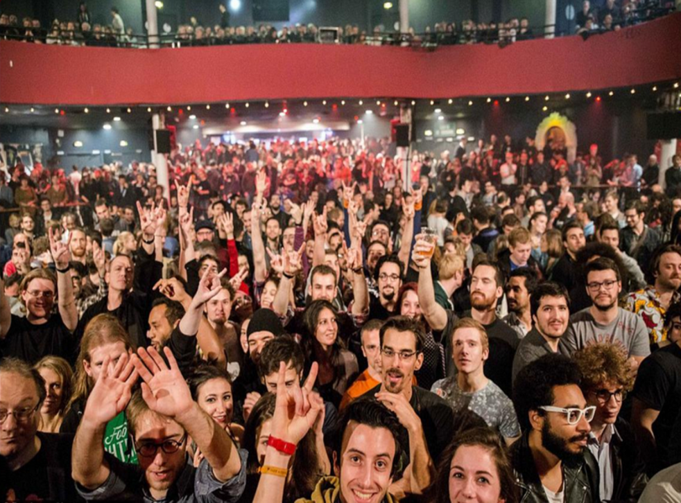 Ismael El Iraki (far right) can be seen at the Bataclan moments before the shootings