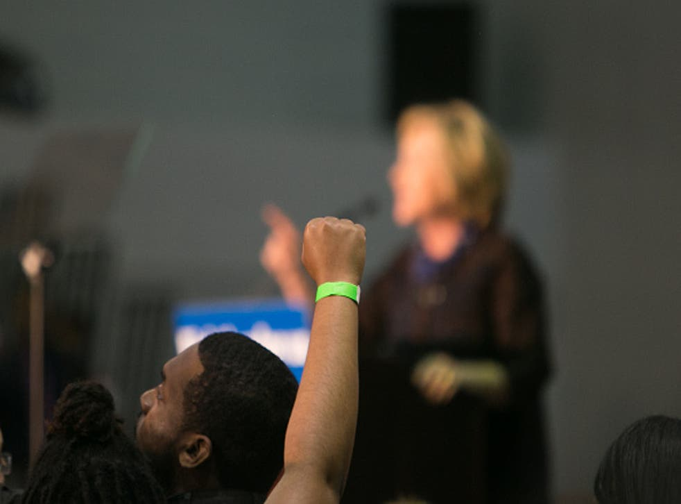 Hillary Clinton speaks at an 'African Americans For Hillary' rally at Clark Atlanta University in Atlanta, Georgia, as racial tensions increase across US and Canadian campuses