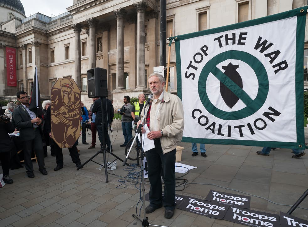 Jeremy Corbyn in 2012, speaking at Stop the War coalition's 11th anniversary protest against the war in Afghanistan calling for troops to be brought home by Christmas