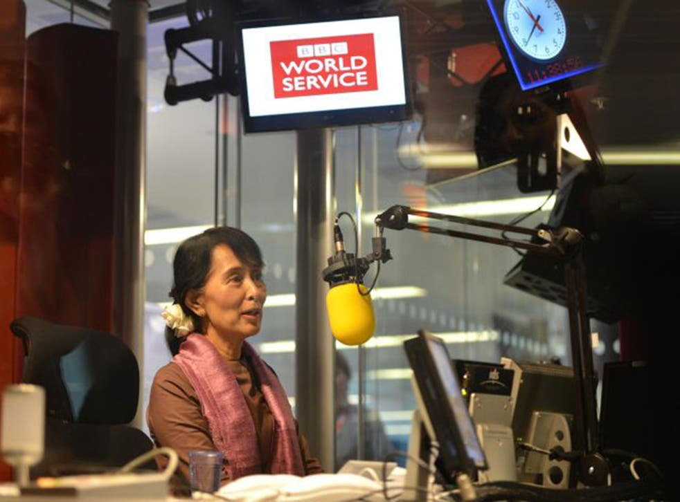 Burma's Aung San Suu Kyi visiting the BBC World Service studios in London in 2012