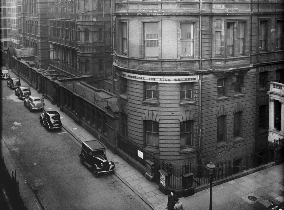 The old entrance to the Hospital for Sick Children (now Great Ormond Street Hospital), Great Ormond Street, London, in 1949
