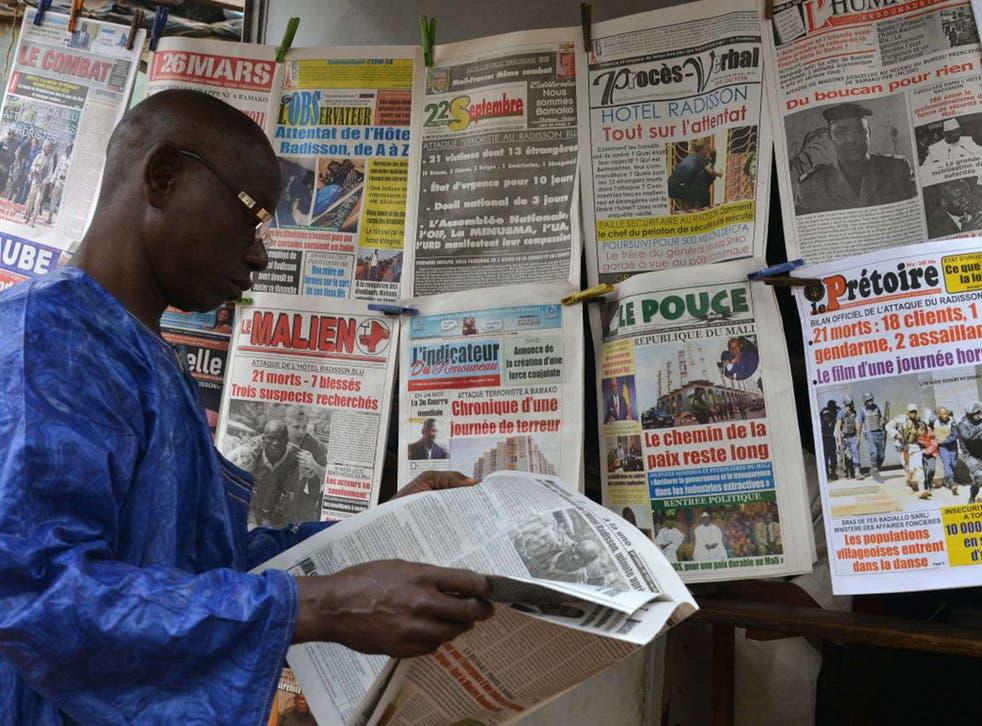 Newspaper headlines in Bamako, Mali, report the bombing at the Radisson Blu hotel last week.Mali's president, Ibrahim Boubacar Keita, blamed the attack on the Macina Liberation Front