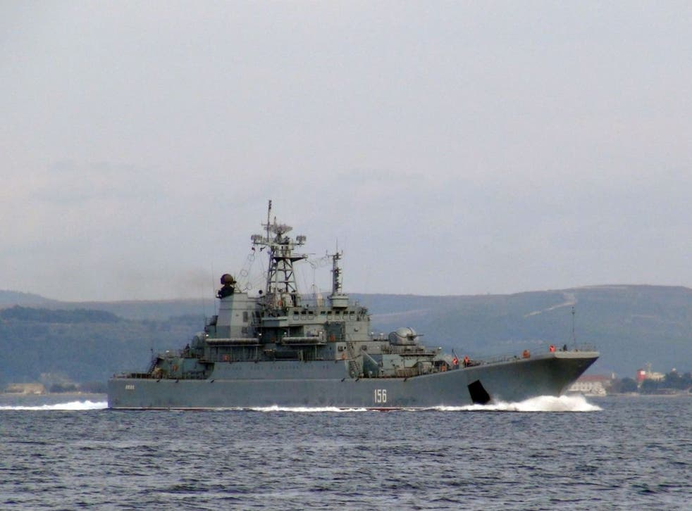 A Russian warship passes through the Dardanelle Straits