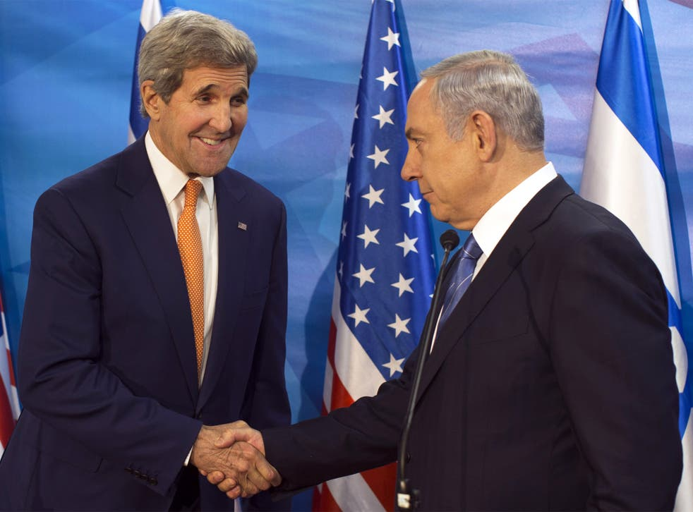 Benjamin Netanyahu with the US Secretary of State, John Kerry, on Tuesday
